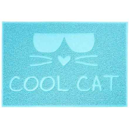 "RealSimple Cat Litter Trapper ""Cool Cat"" Mat - 24x16"" in Blue - Closeouts"