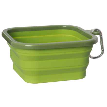 RealSimple Square Silicone Collapsible Dog Bowl - Medium in Green - Closeouts