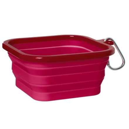 RealSimple Square Silicone Collapsible Dog Bowl - Medium in Pink - Closeouts