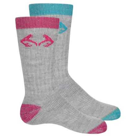 Realtree All-Season Socks - 2-Pack, Crew (For Big Kids) in Teal/Fushia - Overstock