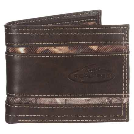 Realtree Bi-Fold Flip-Card Wallet - Leather and Canvas (For Men) in Camo/Brown - Closeouts