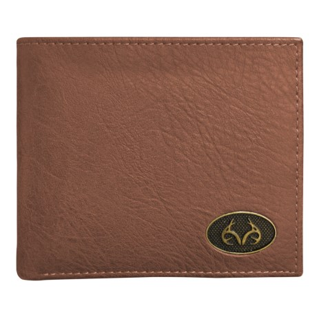 Realtree Burnished Edge Passcase Bifold Wallet (For Men) in 260 Tan