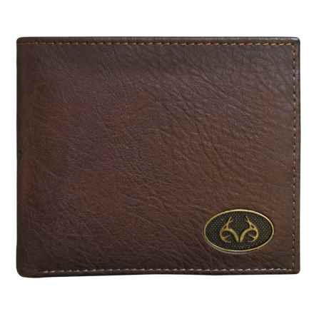 Realtree Burnished Edge Passcase Bifold Wallet (For Men) in Brown - Closeouts