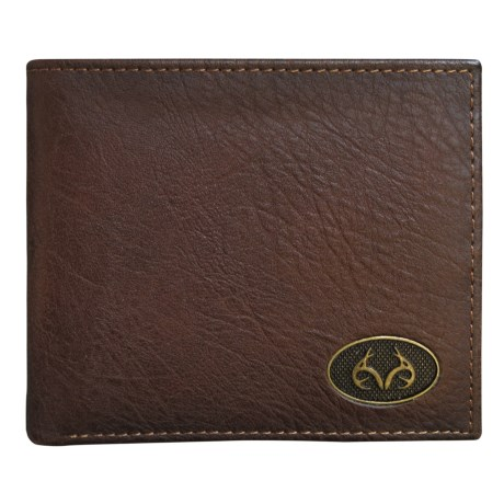 Realtree Burnished Edge Passcase Bifold Wallet (For Men) in Brown
