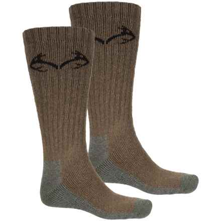 Realtree Carolina Ultimate Boot Socks - 2-Pack, Cotton Blend, Crew (For Men) in Brown - Overstock