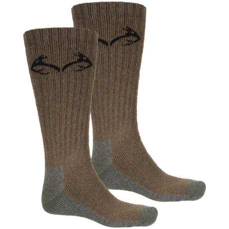 Realtree Carolina Ultimate Boot Socks - 2-Pack, Cotton Blend, Crew (For Men) in Brown