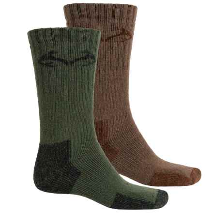 Realtree Full-Cushion ElimiShield® Socks - 2-Pack, Crew (For Men) in Green/Brown - Closeouts