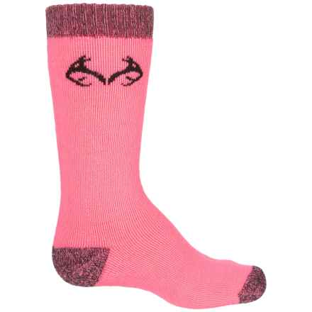 Realtree Lightweight Socks - Merino Wool, Crew (For Big Kids) in Bubblegum - Overstock