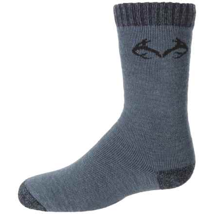 Realtree Lightweight Socks - Merino Wool, Crew (For Big Kids) in Denim - Overstock