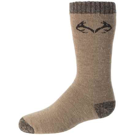 Realtree Lightweight Socks - Merino Wool, Crew (For Big Kids) in Khaki - Overstock