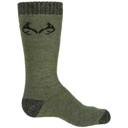 Realtree Lightweight Socks - Merino Wool, Crew (For Big Kids) in Olive - Overstock