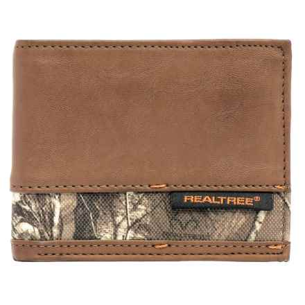 Realtree Slim Passcase Trifold Wallet - Camo Accent (For Men) in Camo/Brown - Closeouts