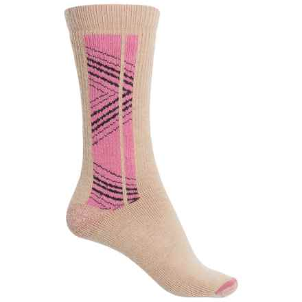 Realtree Wool-Blend Hiking Socks - Crew (For Women) in Khaki/Pink - Closeouts