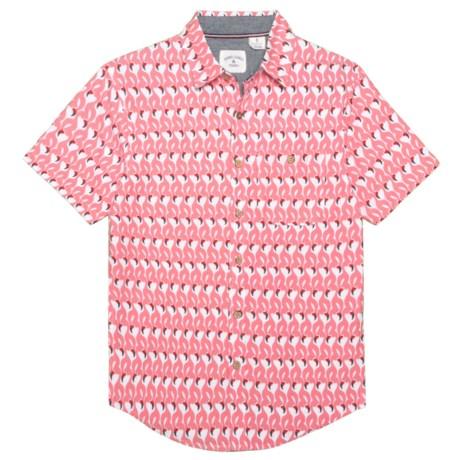 Rebel James & Charli Flamingo Print Woven Shirt - Short Sleeve (For Big Boys) in White