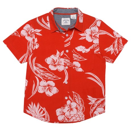 Rebel James & Charli Pineapple Reverse Print Shirt - Short Sleeve (For Little Boys) in Red