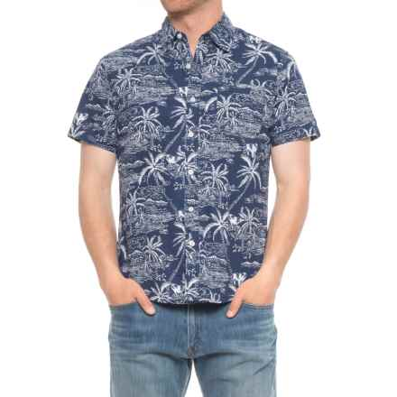 Rebel James & Charli Printed Button-Down Shirt - Short Sleeve (For Men) in Island/Navy - Overstock