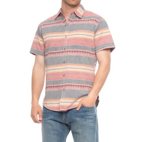 Rebel James & Charli Printed Button-Down Shirt - Short Sleeve (For Men) in Jaquard Stripe/Red