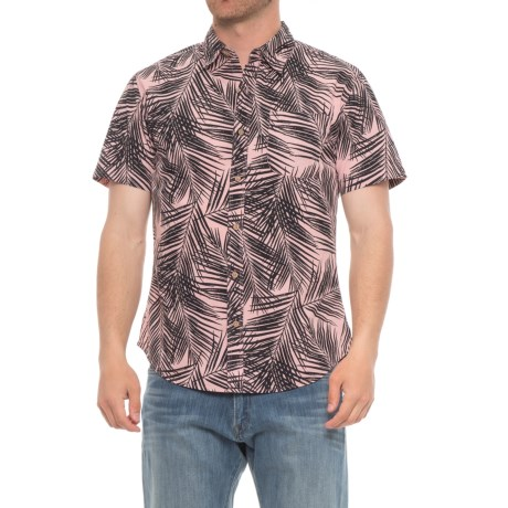 Rebel James & Charli Printed Button-Down Shirt - Short Sleeve (For Men) in Palms/Pink