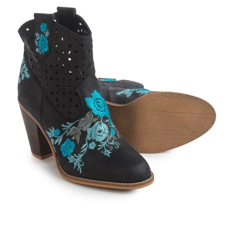 Rebels Sherry Embroidered Boots - Vegan Leather (For Women) in Black