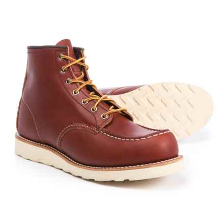 "Red Wing Shoes Classic 6"" Moc-Toe Work Boots - Leather, Factory 2nds (For Men) in Oro Russet - Closeouts"