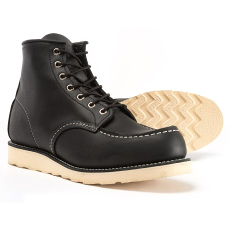 "Red Wing Shoes Red Wing Heritage 9075 6"" Moc-Toe Work Boots - Leather, Factory 2nds (For Men) in Black Harness"