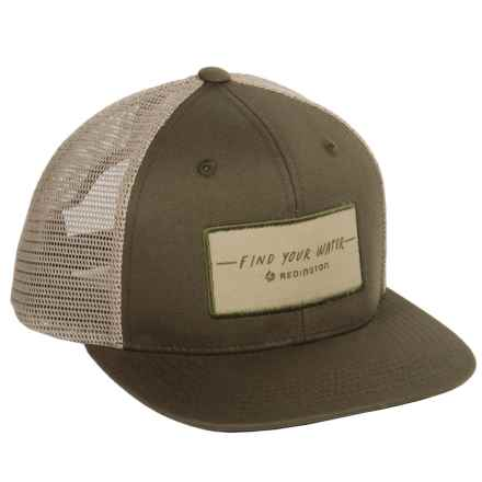 Redington FYW Script Trucker Hat (For Men) in Olive - Closeouts