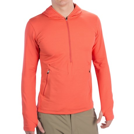 Redington Taylor River Hoodie Shirt - UPF 30+, Zip Neck, Long Sleeve (For Men) in Fire Coral