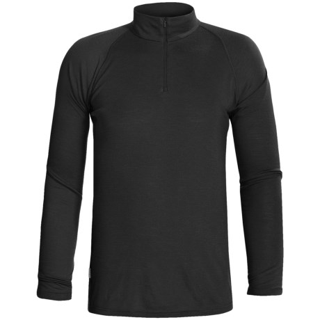 RedRam by Icebreaker Merino Wool Base Layer Top - Zip Neck, Long Sleeve (For Men) in Black