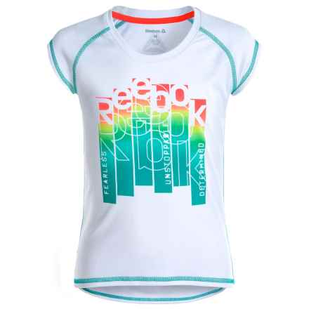 Reebok Active Block Shirt - Short Sleeve (For Little Girls) in True White - Closeouts