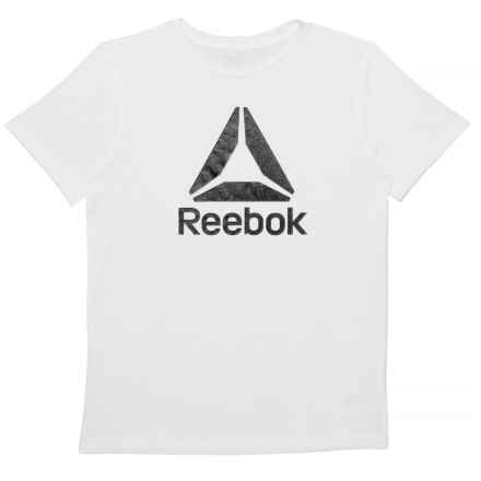 Reebok Big Logo White T-Shirt - Short Sleeve (For Big Boys) in True White - Closeouts