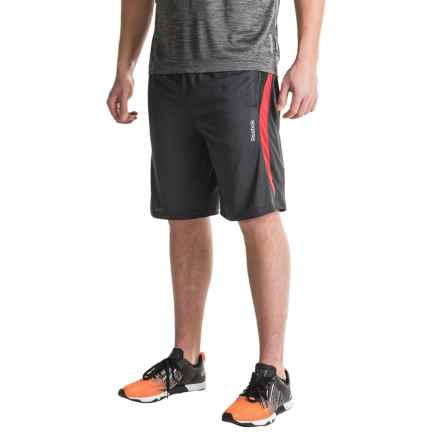 Reebok Borg Shorts (For Men) in Black Heather/Varsity Red Heather - Closeouts
