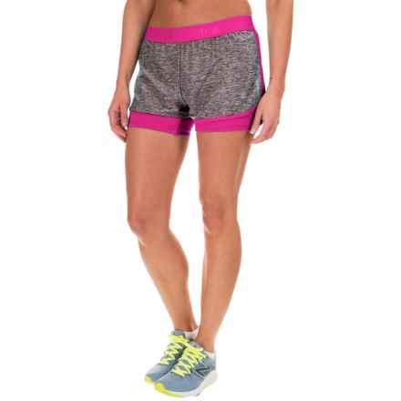 "Reebok Cardio Shorts - 2.5"" (For Women) in Black Heather/Fuchsia Red - Closeouts"
