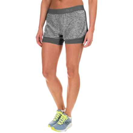 "Reebok Cardio Shorts - 2.5"" (For Women) in Medium Grey Heather - Closeouts"
