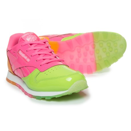 Reebok Classic Dessert Sneakers (For Girls) in Kiwi Green/Solar Pink/Fire Spark/White
