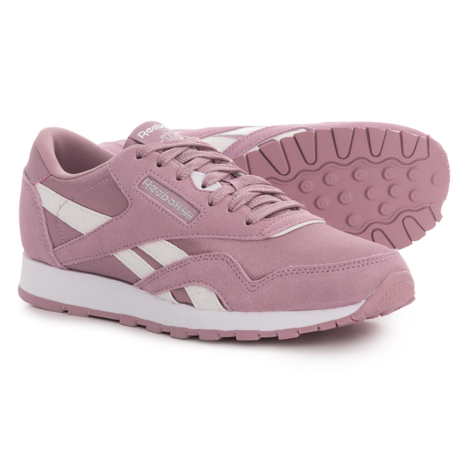Reebok Classic Suede-Nylon Sneakers (For Big Girls) in Infused Lilac White 96aa8c809