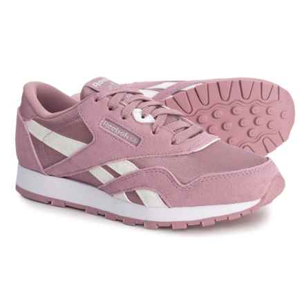 Reebok Classic Suede-Nylon Sneakers (For Little and Big Girls) in Infused Lilac/White/Silver - Closeouts