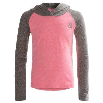 Reebok Color-Block Hoodie Shirt - Long Sleeve (For Big Kids) in Camelia Rose - Closeouts