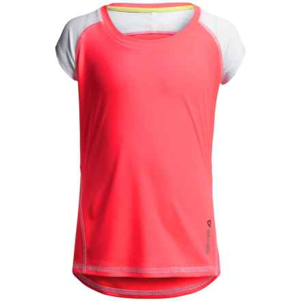 Reebok Color-Blocked Active T-Shirt - Short Sleeve (For Big Girls) in Fiery Orange - Closeouts