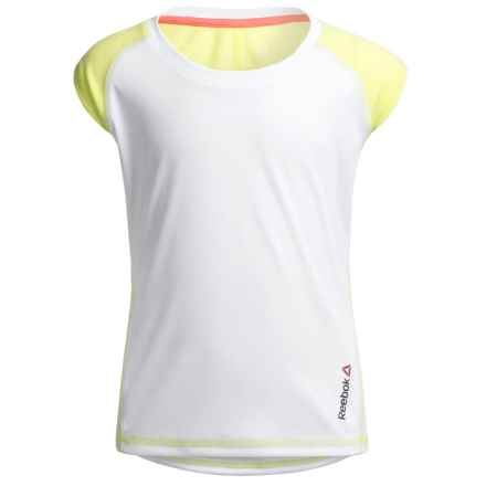 Reebok Color-Blocked Active T-Shirt - Short Sleeve (For Big Girls) in White - Closeouts