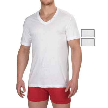 Reebok Cotton V-Neck Undershirts - 3-Pack, Short Sleeve (For Men) in White - Closeouts