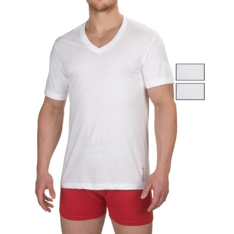 Reebok Cotton V-Neck Undershirts - 3-Pack, Short Sleeve (For Men) in White