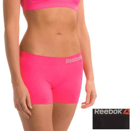 Reebok Delta Seamless Panties - 2-Pack, Boy Short (For Women) in Black/Electric Pink - Closeouts
