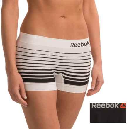 Reebok Delta Seamless Panties - 2-Pack, Boy Short (For Women) in Black/White Stripe - Closeouts