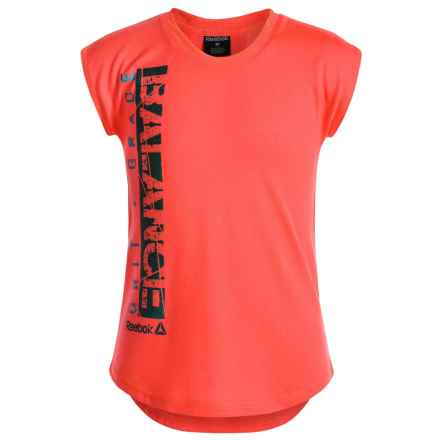 Reebok Dolman Active Shirt - Short Sleeve (For Little Girls) in Coral - Closeouts