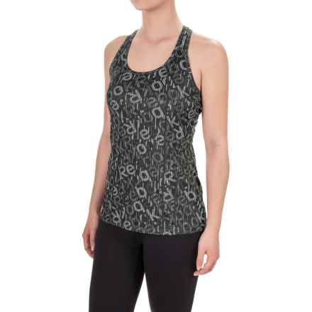 Reebok Dynamic Logo-Print Tank Top - Racerback (For Women) in Black - Closeouts