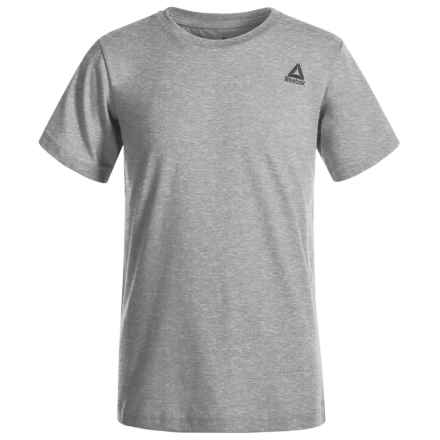 Reebok Embroidered Logo T-Shirt - Short Sleeve (For Big Boys) in White Heather Grey - Closeouts