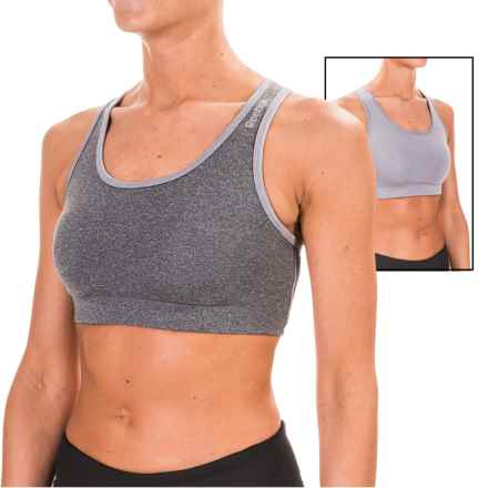 Reebok Everyday Sports Bra - Medium Impact, Reversible (For Women) in Charcoal Heather - Closeouts