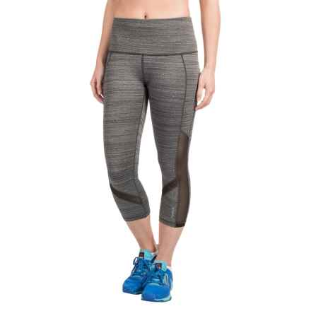 Reebok Fearless High-Rise Capris (For Women) in Black Heather - Closeouts