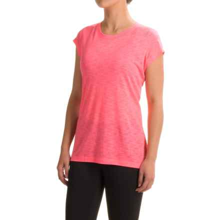 Reebok Flyaway Shirt - Short Sleeve (For Women) in Neon Rose - Closeouts