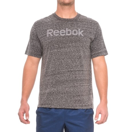 Reebok Ghost Logo T-Shirt - Crew Neck, Short Sleeve (For Men) in Charcoal Heather